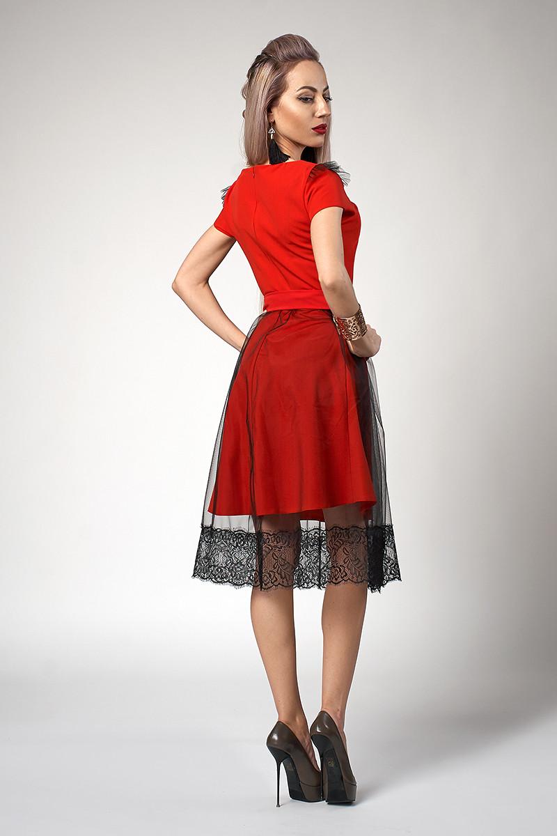 0887227109b98c8 Красивое женское платье декорировано фатином бордовое размер 44, фото 2