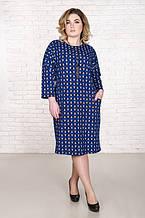 Стильное платье размер плюс Дженни узор электрик (52-62)