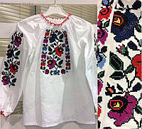 Вышиванка для девочки с цветами Мальва