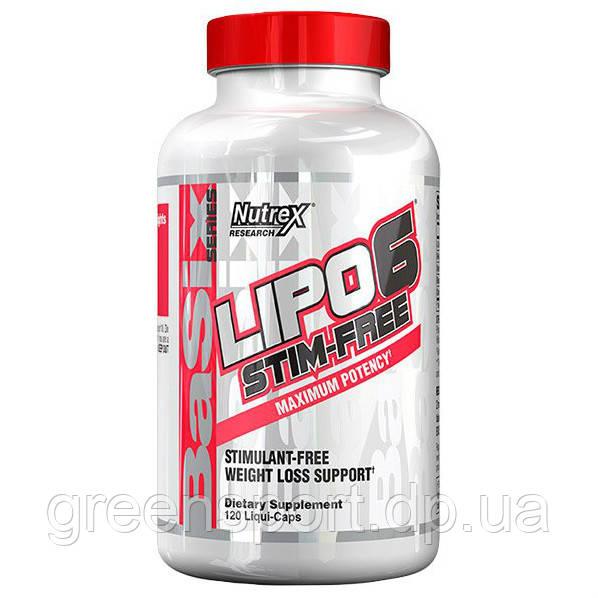 Жиросжигатель для спортсменов Nutrex Lipo-6 Stim-Free (120 капс.)