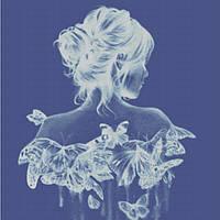 """Схема для вышивания """" Девушка в бабочках""""голубая """""""