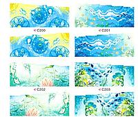 Набор 4 листа, слайдеры наклейки большие, вода С 200-203, фото 1