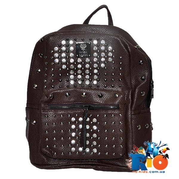 Школьная сумка (рюкзак) со стразами, размер  30х28 см, из эко-кожи(мин.заказ-1 ед)