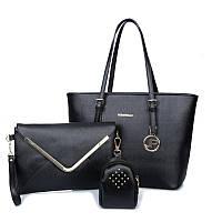 Женская сумка набор 3в1 черный из экокожи опт, фото 1