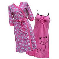 Комплект ночная рубашка + халат кулир.размер 52-54.цвет СЕРЫЙ