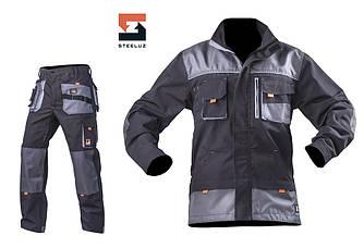 Костюм рабочий SteelUZ куртка и брюки, светло-серая отделка