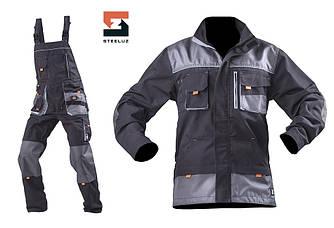 Костюм рабочий SteelUZ  куртка и полукомбинезон, светло-серая отделка