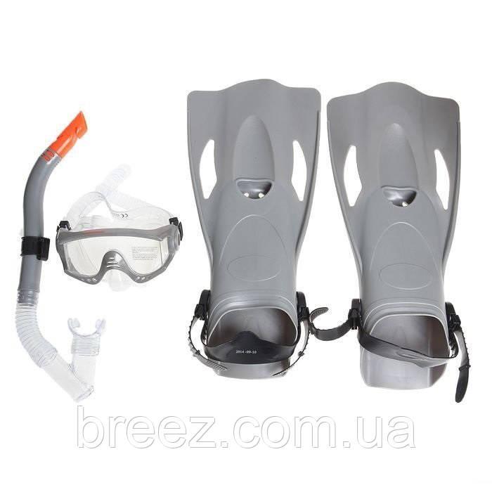 Набор для плавания Bestway маска, трубка и ласты, от 14 лет серый