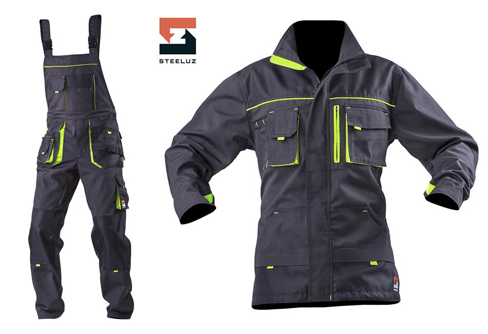 Костюм рабочий SteelUZ куртка и  полукомбинезон, салатовая отделка