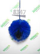 Меховой помпон Кролик, Ультрасиний с ч/п, 10 см, 8347