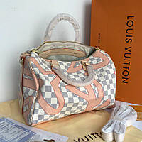 Сумка Louis Vuitton Speedy Damier Azur+Pink натуральная кожа