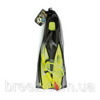 Набор для плавания Bestway маска, трубка и ласты от 14 лет зеленый, фото 2