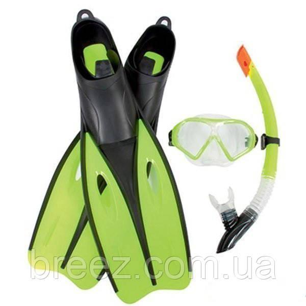 Набор для плавания Bestway маска, трубка и ласты от 14 лет зеленый