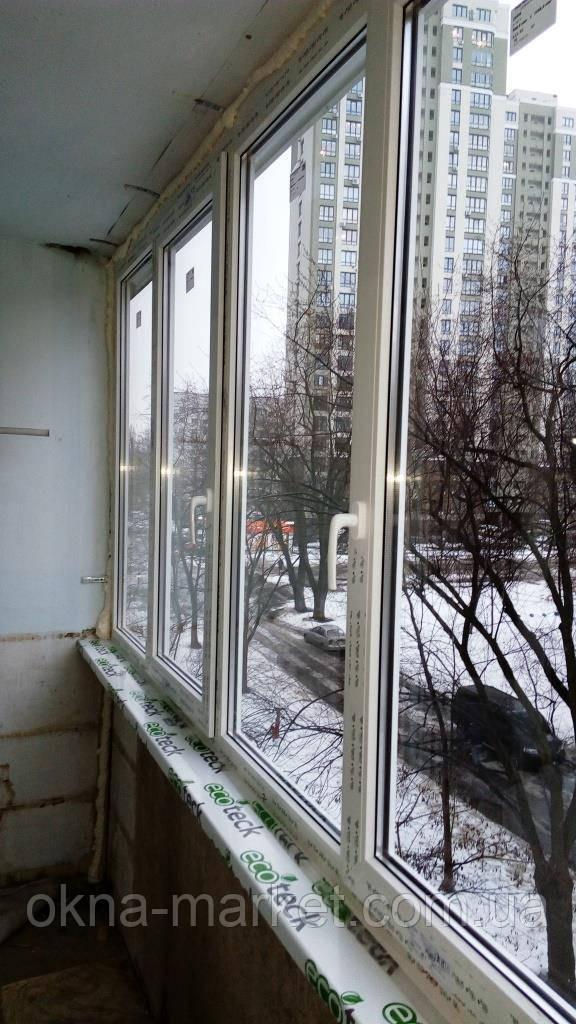 Остекление лоджии окнами Rehau Киев