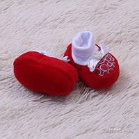 """Нарядные пинетки для новорожденных """"Bow"""" (красные)"""