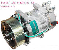 Компрессор на SCANIADL5/DL6/DP, 7H15,  Шкив 120мм ,PV10, O-ring, 24В, SANDEN, модели 8275, 8295E