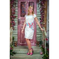 Белое хлопковое платье-трапеция с цветочным узором. Размеры: M-XXL