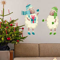 Новогодняя виниловая наклейка Барашек и овечка (стикеры на стены, обои, окна, самоклеющаяся пленка) глянцевая, 608х500 мм