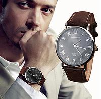 Наручные часы мужские с коричневым ремешком код 356