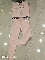 Стильный, женский, джинсовый костюм: джинсы + жакет без рукавов. РАЗНЫЕ ЦВЕТА