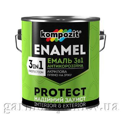 Эмаль антикоррозионная 3 в 1 PROTECT Kompozit, 10 кг Белый, фото 2