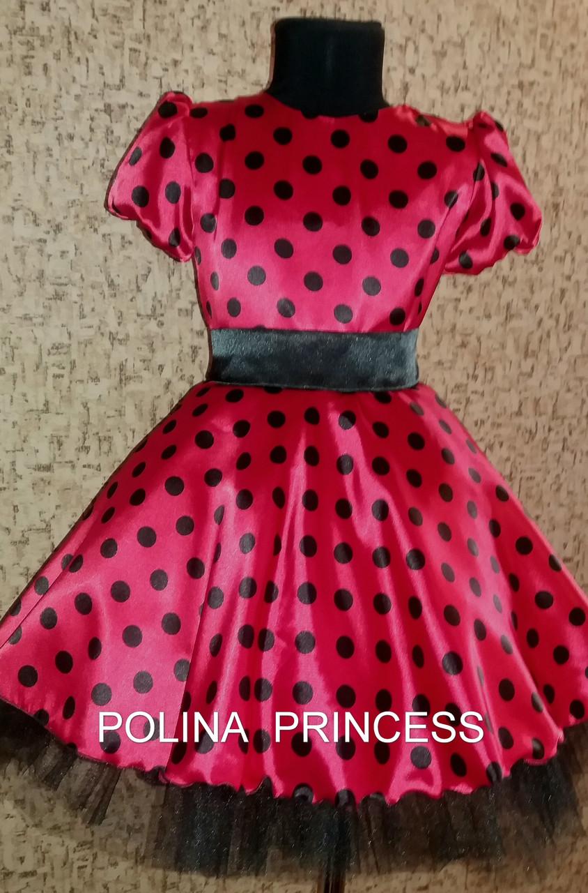 129be132de9 Платье детское красное в черный горох - интернет- магазин Нарядные платья  для девочек POLINA PRINCESS
