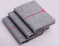 Блокнот на резинке, войлочная обложка, B6, в ассортименте