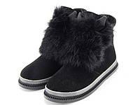 Женские демисезонные замшевые ботинки без каблука, с ушками и опушкой кролика. натуральная замша