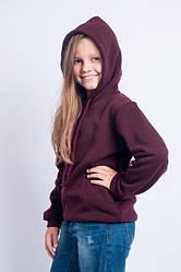 Модная бордовая кофта с капюшоном на девочку подростковые. Размеры: 140-158