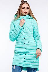 Модная демисезонная куртка полуприталенного кроя, мятного цвета.
