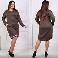 Коричневое платье больших размеров