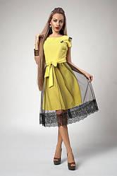 Яркое желтое платье с фатиновой юбкой и кружевом. Размеры: 42-48