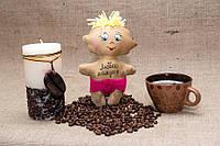 "Кофейная игрушка Vikamade Малыш ""Люблю бабулю"", ""Люблю мамулю"", ""Люблю папулю"" Голубой, Люблю Бабулю"