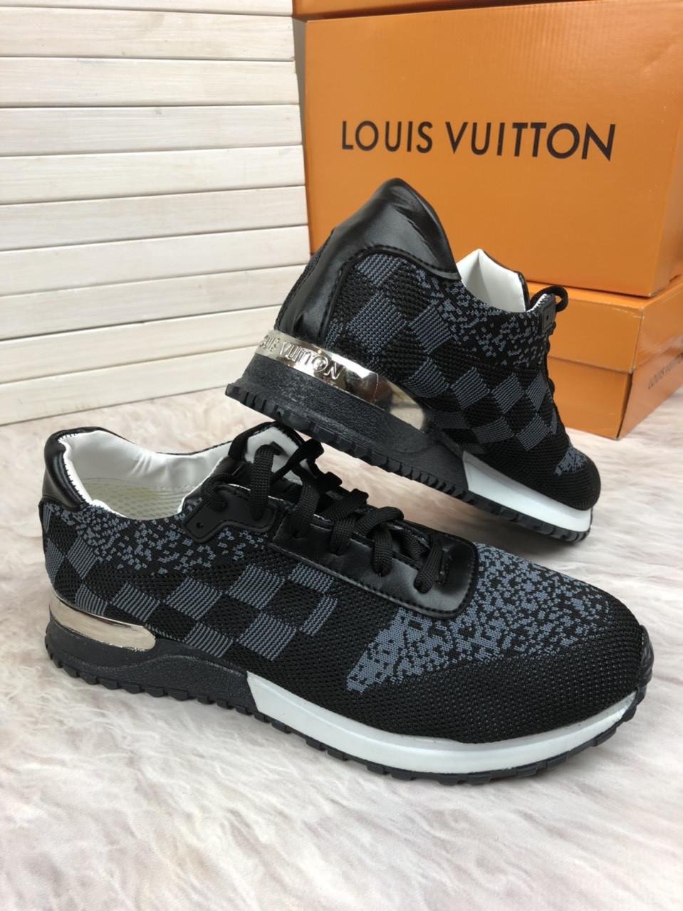 Кроссовки мужские Louis Vuitton D3038 серо-черные