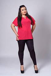 Нарядная шифоновая красная женская блуза увеличенных размеров.