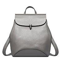 Женский стильный рюкзак-сумка из натуральной кожи серый, фото 1