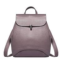 Женский стильный рюкзак-сумка из натуральной кожи фиолетовый опт