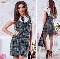 Оригинальное женское платье твид
