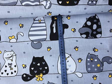 """Польская хлопковая ткань """"мартовские коты с желтым на сером"""", фото 2"""
