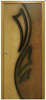 Дверное полотно Лилия 2 ПГ орех/дуб ДНТ (двухцветный), фото 1