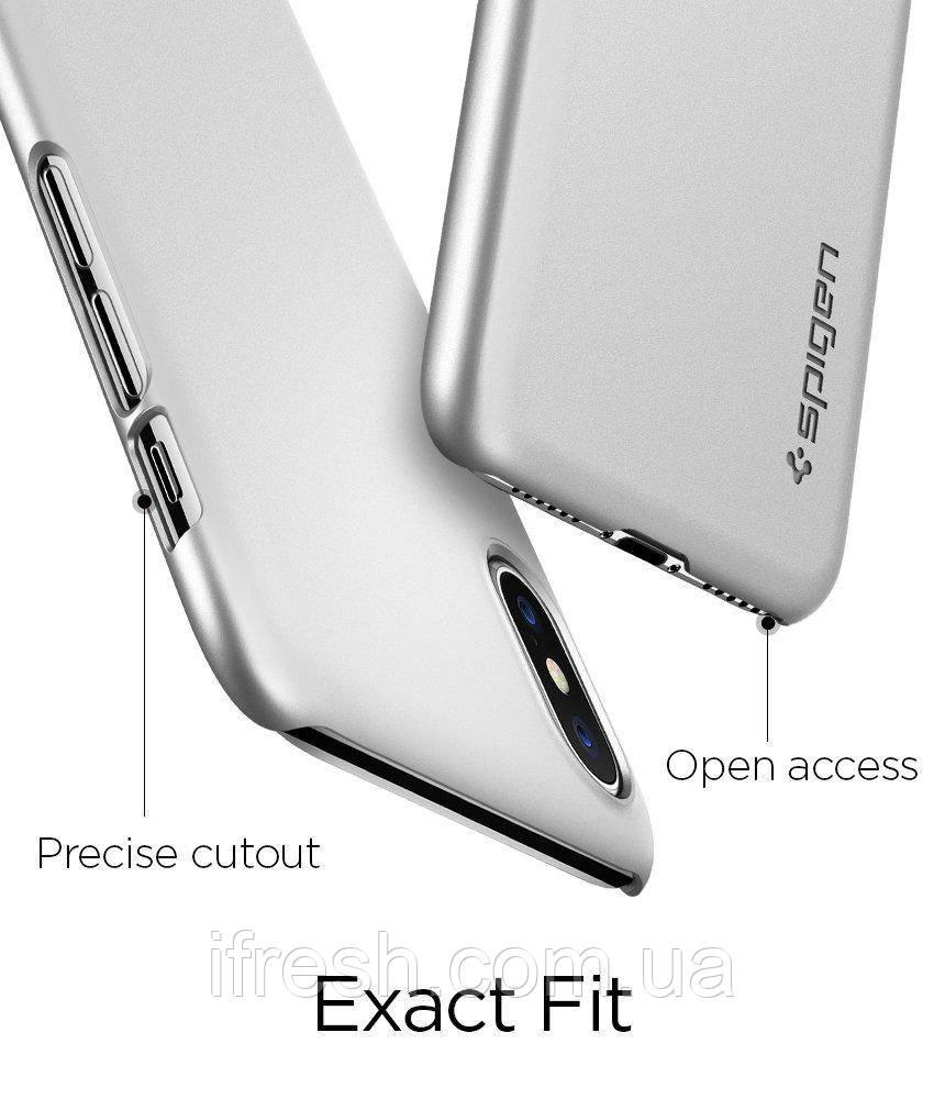 Чехол Spigen для iPhone X Thin Fit, Satin Silver