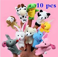 Набор плюшевых игрушек на пальчики 10 штук. Пальчиковый театр Зверята