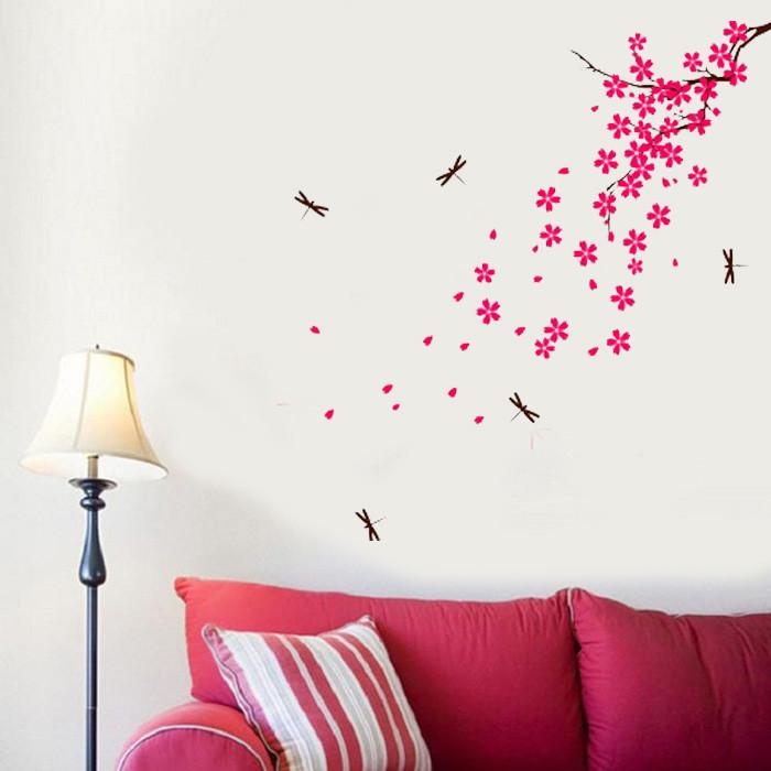 Виниловая интерьерная наклейка Цветущая ветка (наклейки цветы растения ветки)