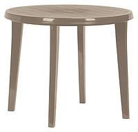 Стол садовый Lisa круглый пластик Бежевый диаметр 90 см (Time Eco TM)