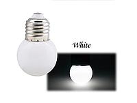 Лампочка светодиодная белая E27 1,2Вт, G45 шар холодный белый, фото 1