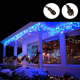 Гирлянда Бахрома 100 LED уличная синяя, 5 м, черный провод
