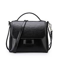 Женская сумка стильная из натуральной кожи черная , фото 1