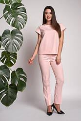 Молодежный женский костюм из кофточки и брюк, розового цвета