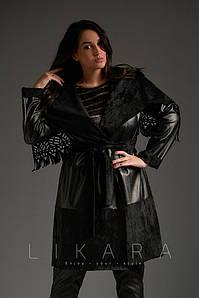 Женское пальто на запах №82-604 БАТАЛ
