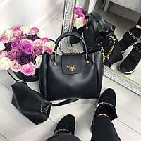 Черная сумочка 2в1 Prada/ прадо с косметичкой в комплекте